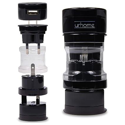 Urhome® Universal Reiseadapter I 150 Länder Travel-Adapter I mit 1A USB Charger Schwarz