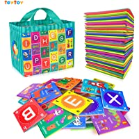 teytoy Baby Soft Alphabet Cards Toys, 26Pcs ABC Alphabet Flash Cards Early Learning Toy with Storage Bag, Washable Soft…
