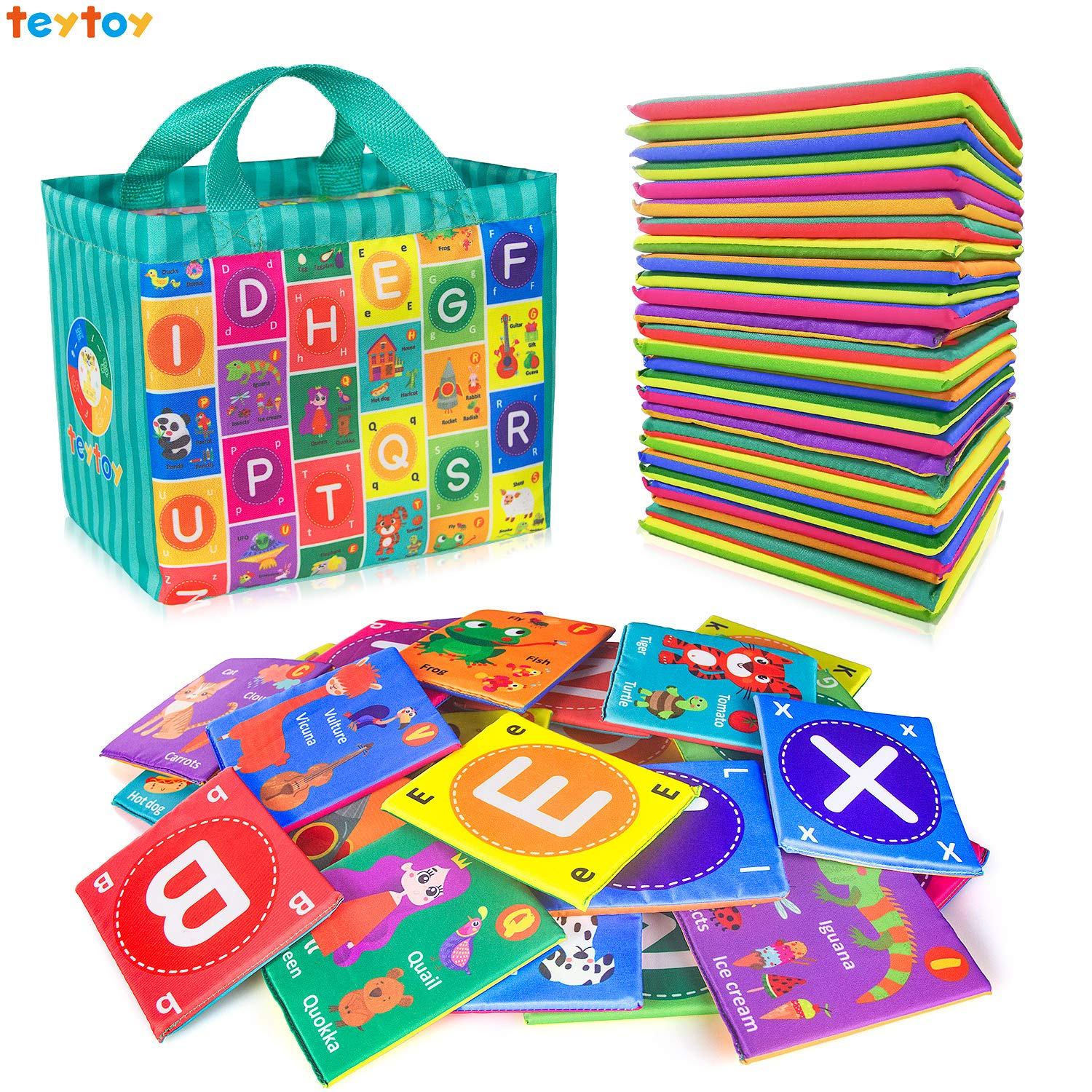 teytoy Baby Soft Alphabet Cards Toys, Baby Early Learning Shape Color Recognition Puzzle Toy with Storage Bag, Washable Soft Cloth Toy for Over 0 Years