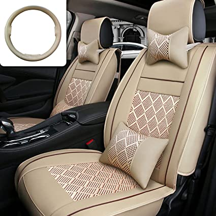 Car Seat Cover Cushions FLY5D 10Pcs PU Leather Ice Silk Auto Front Rear Covers