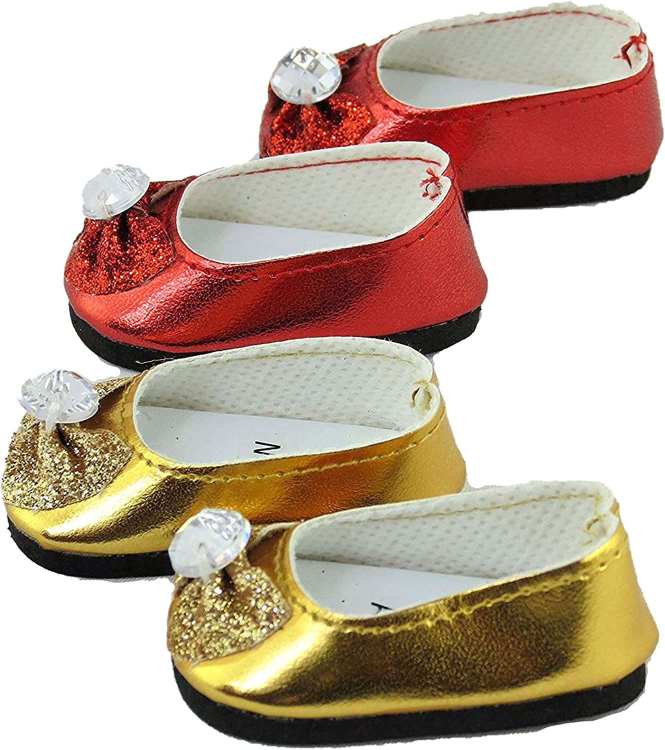 Gold Glitter Flats Shoes for 14.5 inch American Girl Wellie Wishers Dolls