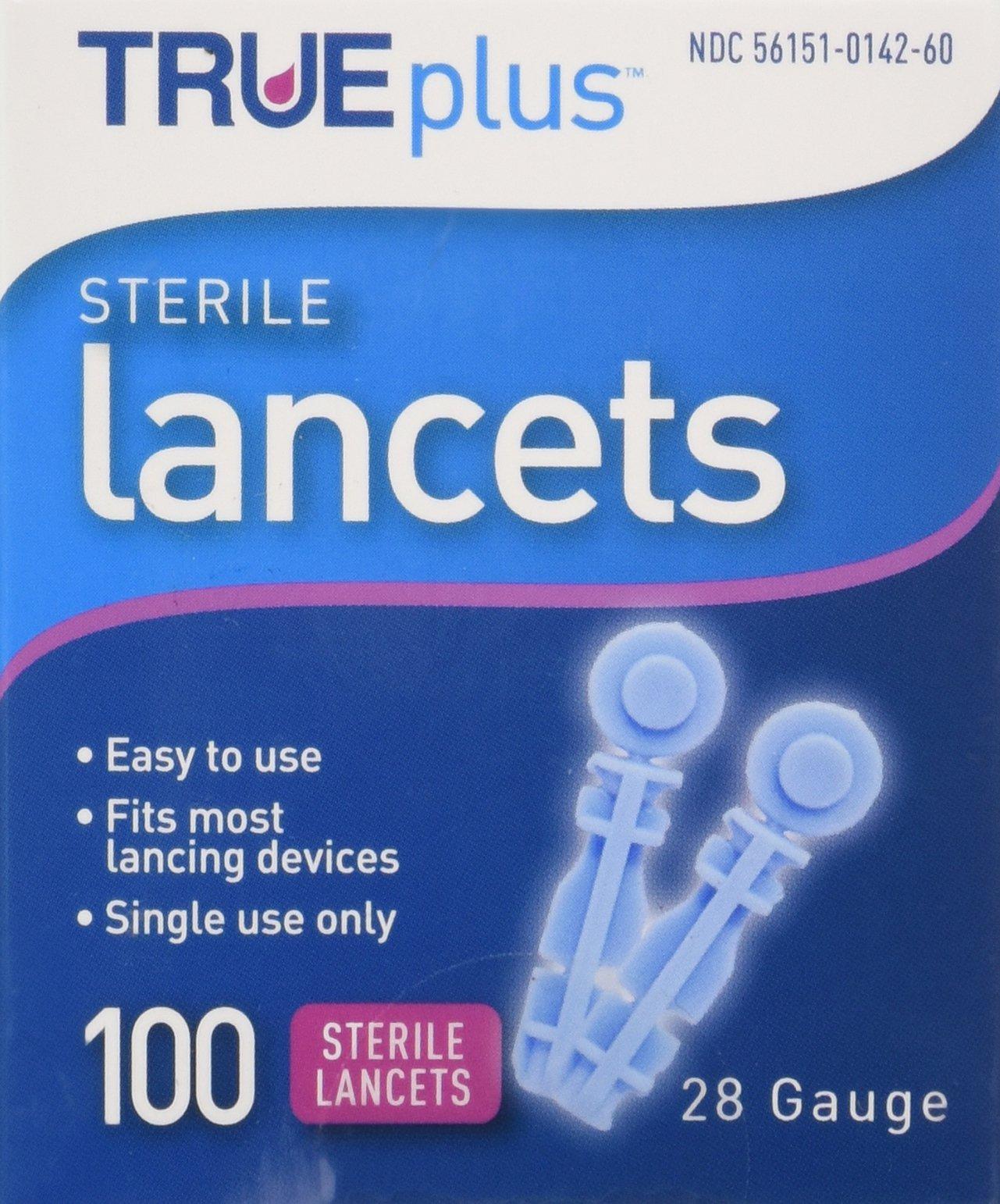 Trueplus Sterile Lancets, 28 Gauge, 100 Each