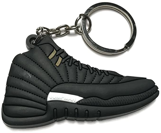 low priced a7321 f5d96 Image Unavailable. Image not available for. Color  Air Jordan Retro 12 Black  and White Shoe Keychain Collectable