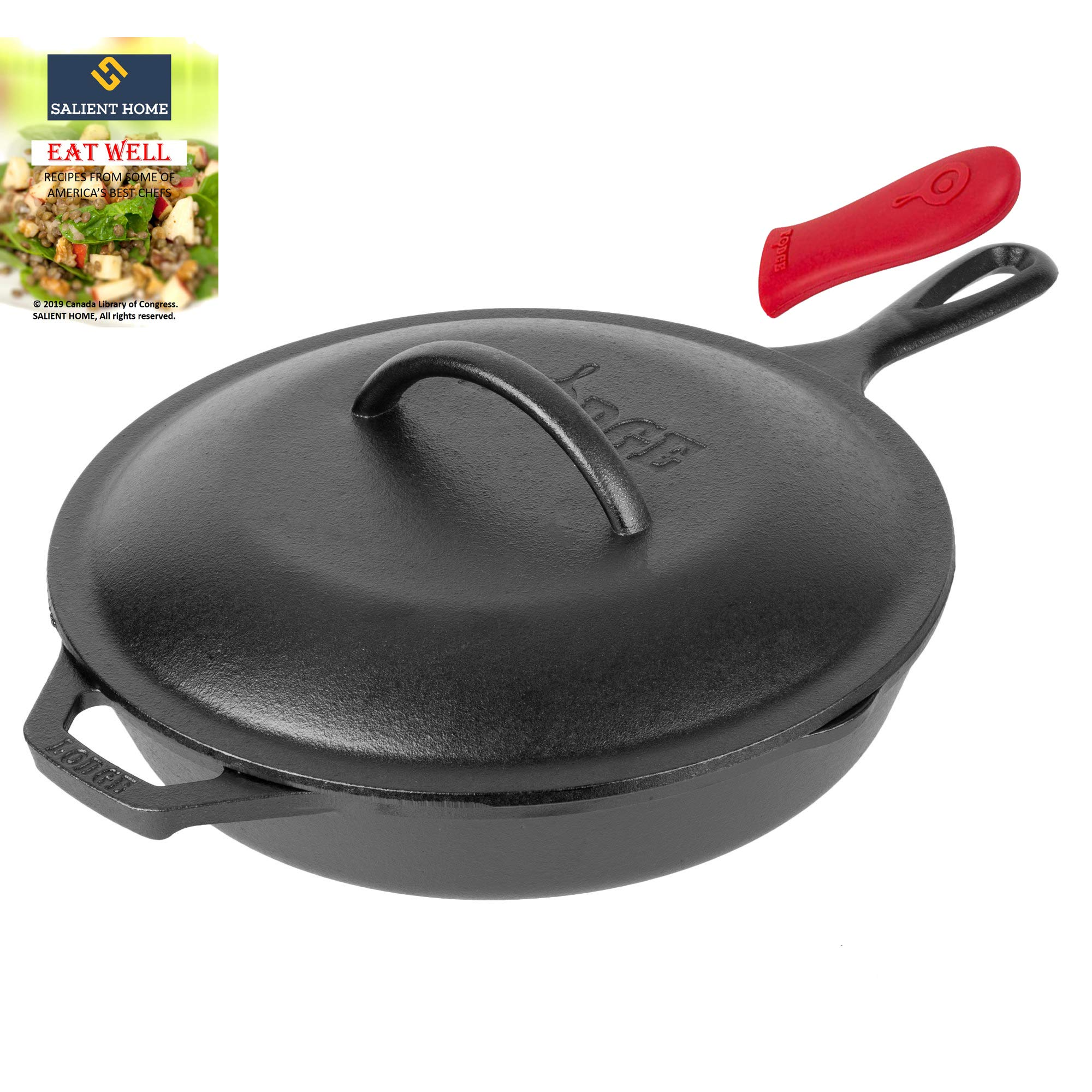 Lodge 10.25'' Cast Iron Black Skillet with LID | Pre-Seasoned Cookware, Frying Pan, Ready for Stovetop, Oven or Camp Cooking | Grill, Induction Safe | SALIENT HOME Cookbook from Top America's Chefs.