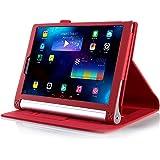 【全4色】IVSO オリジナルLenovo Yoga Tablet 2 8インチ (2014 Oct Release) (Lenovo Yoga Tablet 2 8インチ だけ 適用) 専用PUレザーケース 超薄型 最軽量 内包型 (レッド)