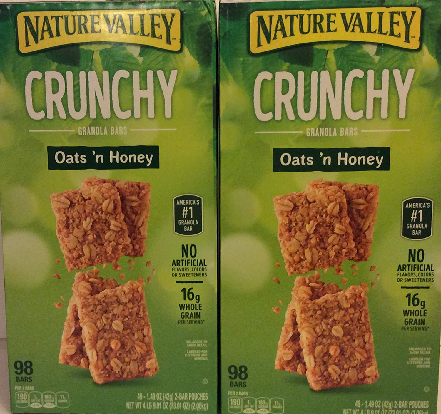 Nature Valley (2 PACK BOX Super Saver) Crunchy Granola Bars Oats 'N Honey - 98 bars In Each Box 2 Bar Pouches of 49ct- 1.49oz