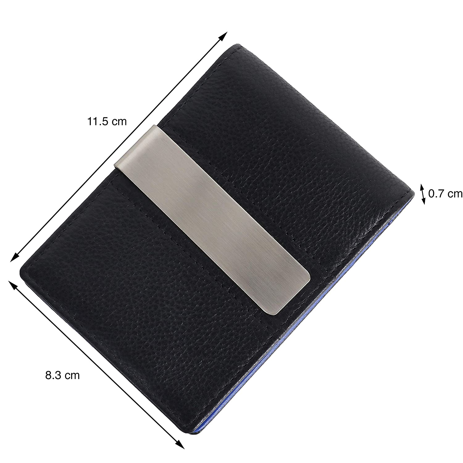 Genuine Leather Money Clip Leather Wallet SD 016 (Black/Blue)