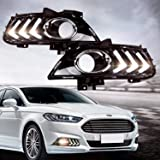 RCP - RFDL01 - Aftermarket LED Daytime Running Lights Mustang Style DRL Fog Lamps Kit for 2012-2015 Ford Fusion, White 6000K, Set of 2