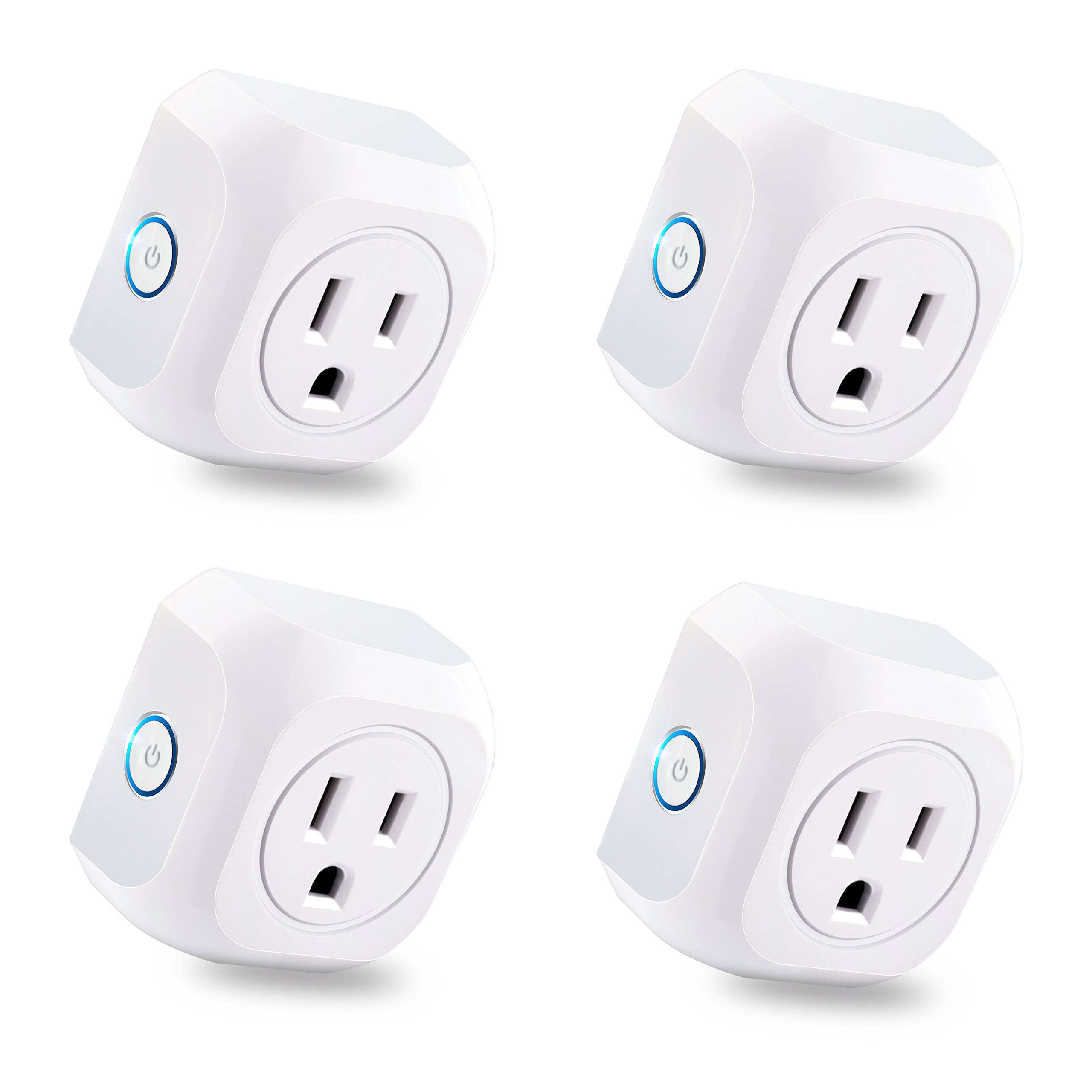 KOOTION 4 Pack Wifi Smart Plug Mini Outlet with Energy Monitoring, Compatible with Alexa Echo and Google Assistant, No Hub Required, ETL Listed, White