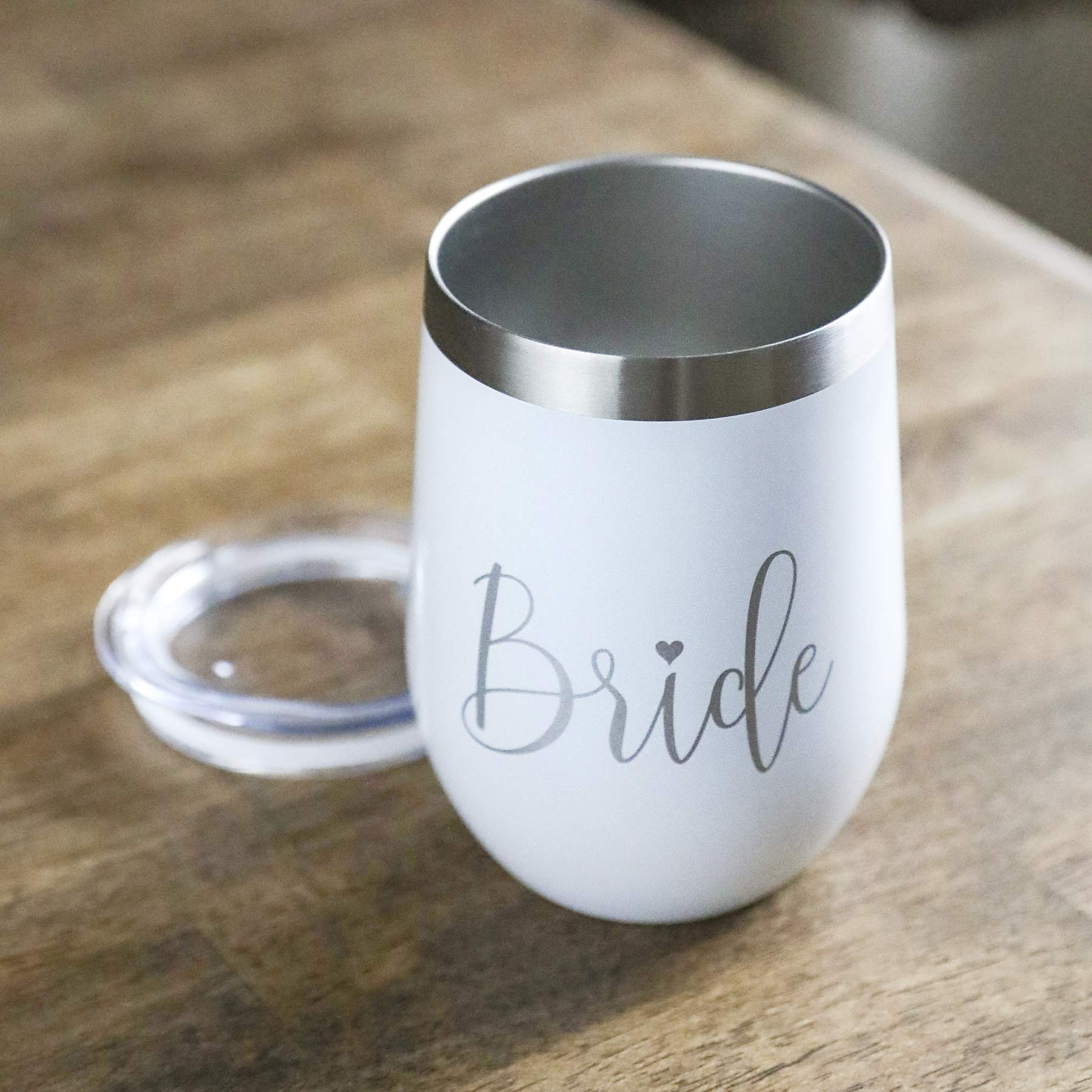 Bride Wine Tumbler with Lid - 12 oz Double Wall Vacuumed Wine, White and Silver Stainless Steel Cup, Perfect Engagement Party, Bridal Shower, Bachelorette Party or Wedding Gift - BPA FREE by Bliss Collections (Image #3)