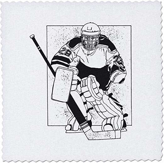 3dRose qs/_16307/_3 Hockey 1 Coach-Quilt Square 8 by 8-Inch