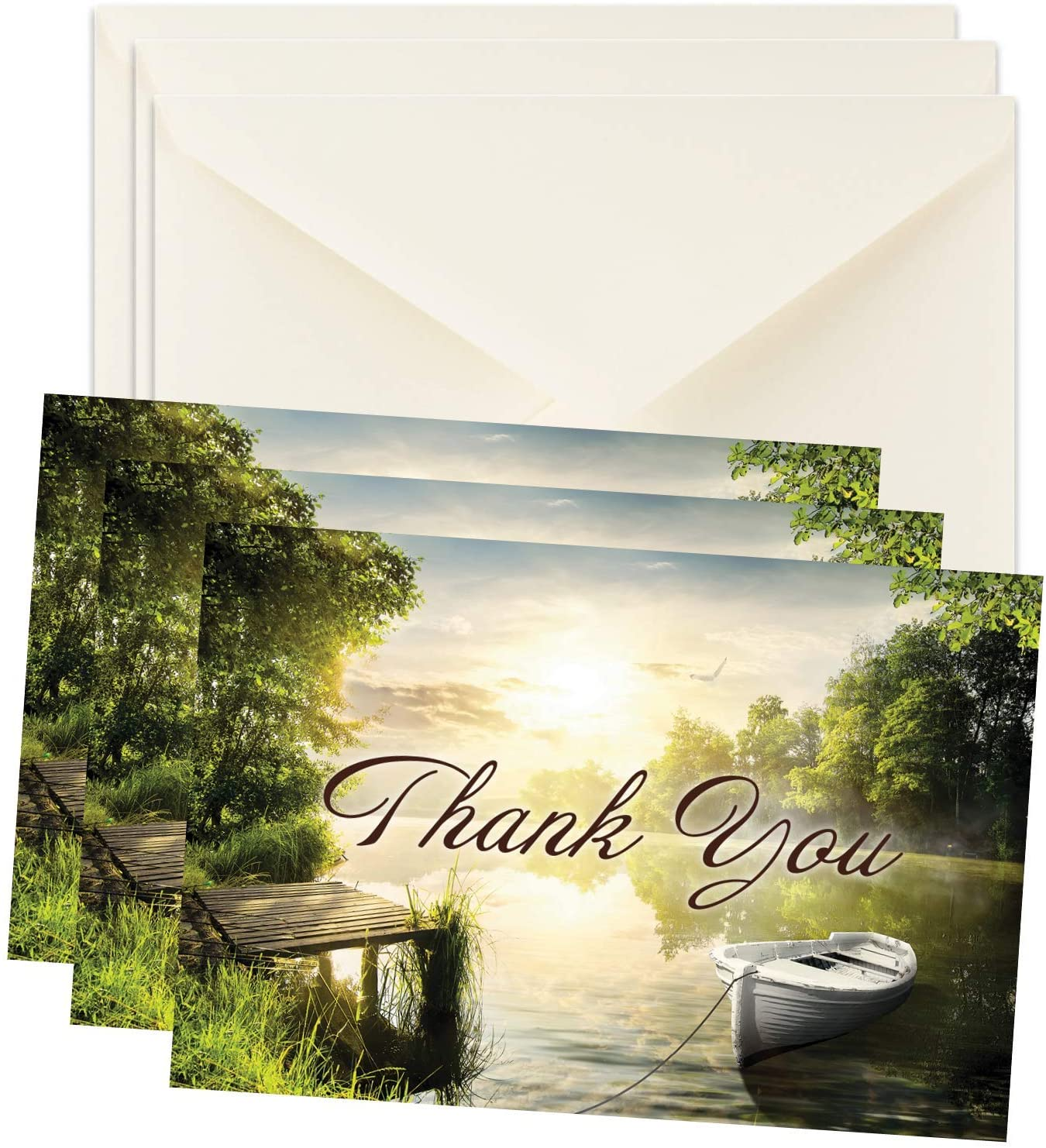 Masculine Funeral Sympathy Bereavement Thank You Cards With Envelopes - Message Inside (Boat, 50)