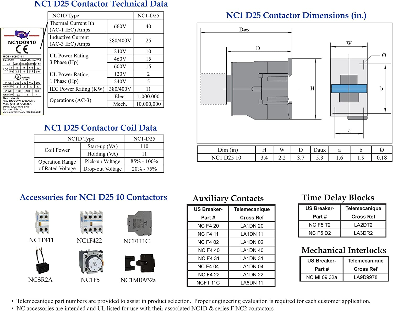 LC1 D25 10-240V Coil Telemecanique LC1D2510 U7 Contactor UL Certified! - New Direct Replacement
