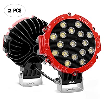"""Nilight Led Light Bar 2PCS 7"""" 51w 5100LM Red Round Flood Light Pod Off Road Fog Driving Roof Bar Bumper for Jeep,SUV Truck, Hunters, 2 Years Warranty: Automotive"""
