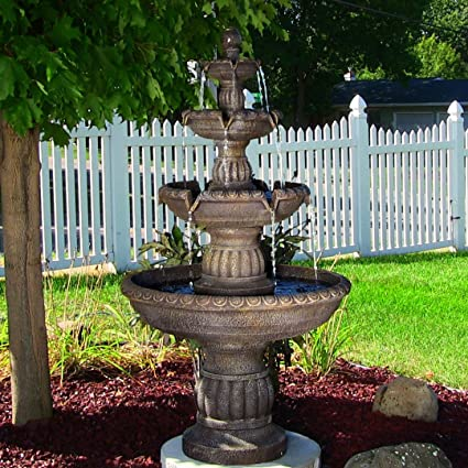Sunnydaze Mediterranean 4 Tiered Outdoor Garden Water Fountain, 49 Inch Tall