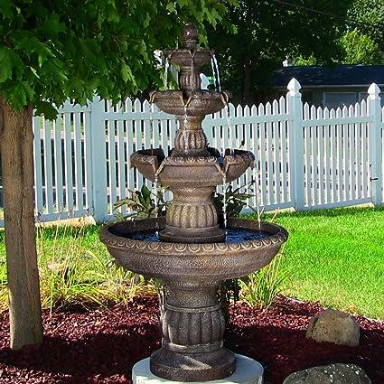 Sunnydaze Mediterranean 4 Tiered Outdoor Garden Water Fountain, 49 Inch Tall