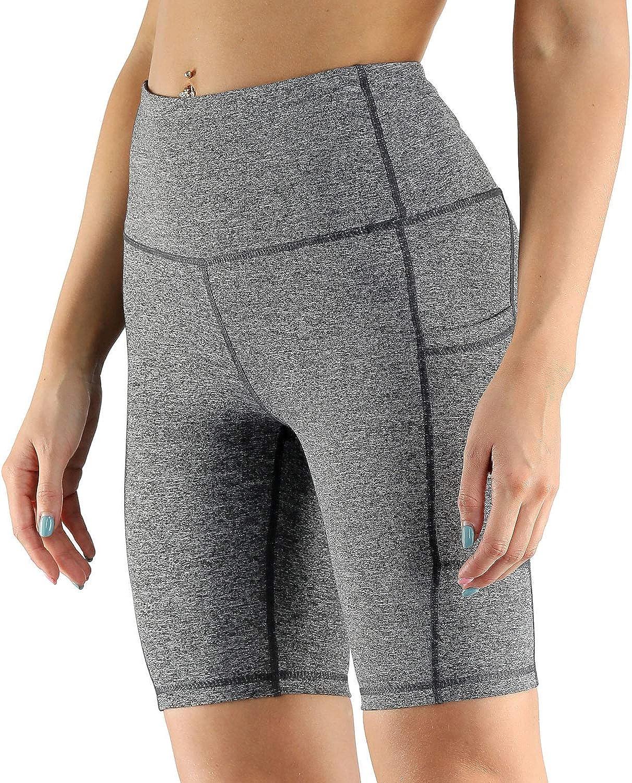 FAFAIR Bike Shorts with Pockets Women Workout Running Athletic Short High Waist Stretch