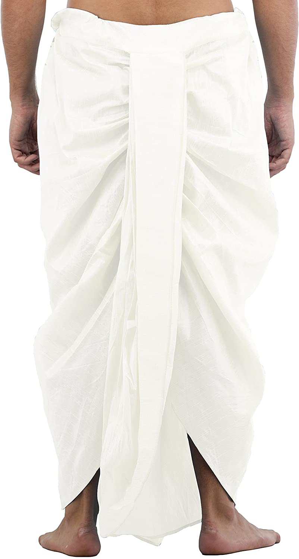 Maenner-Dhoti-Dupion-Silk-Plain-handgefertigt-fuer-Pooja-Casual-Hochzeit-Wear Indexbild 33