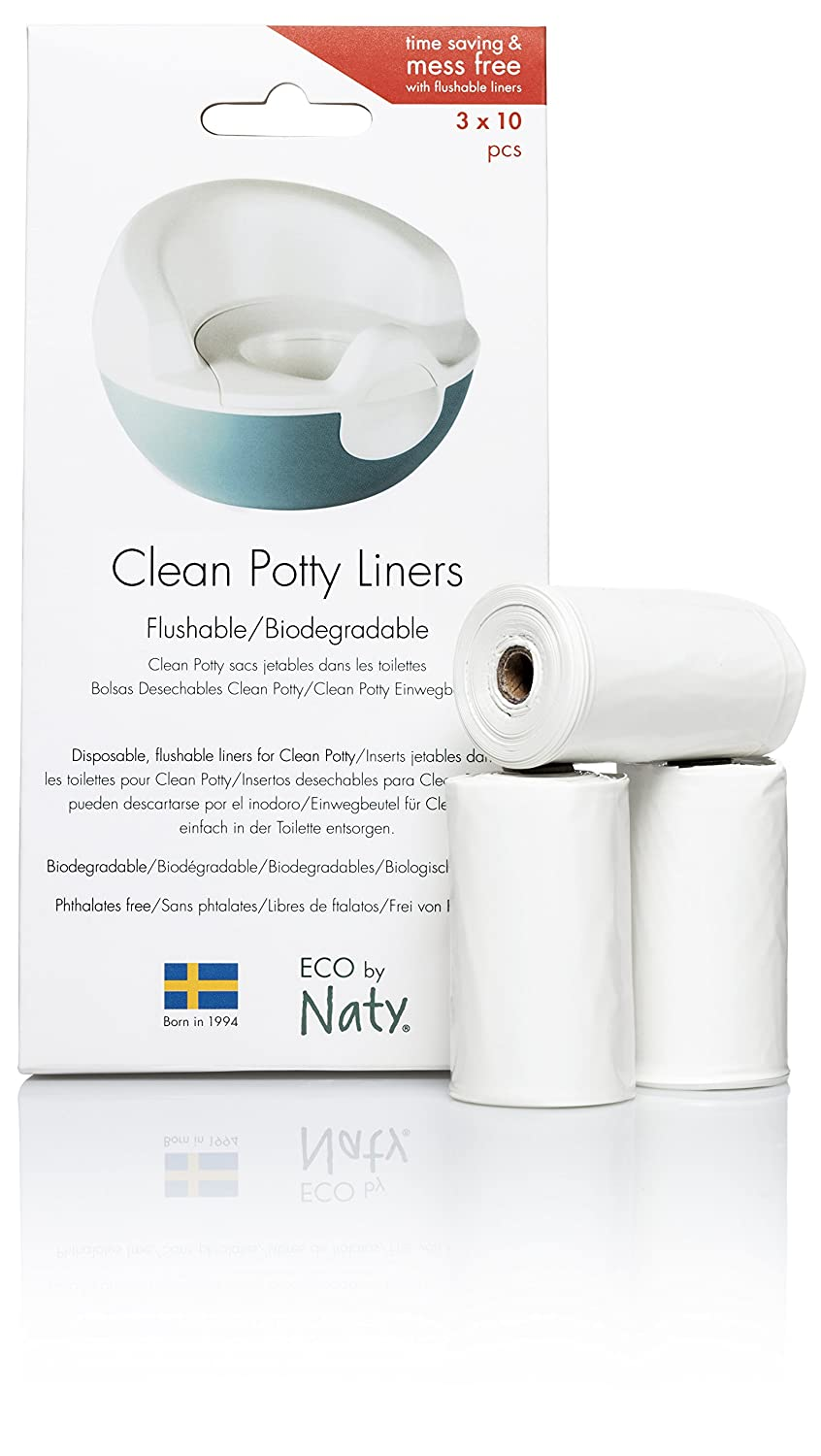Eco by Naty Clean Potty Flushable Liners, 3 Rolls of 10 (30 Count)