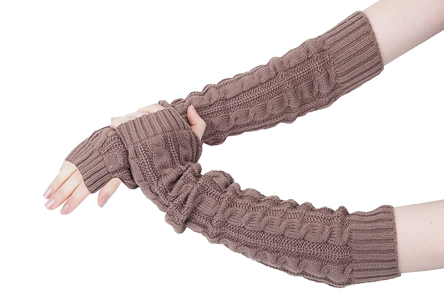 Extra Long Elbow Length Ladies Cable Knit Fingerless Gloves Mittens Vivente Vivo