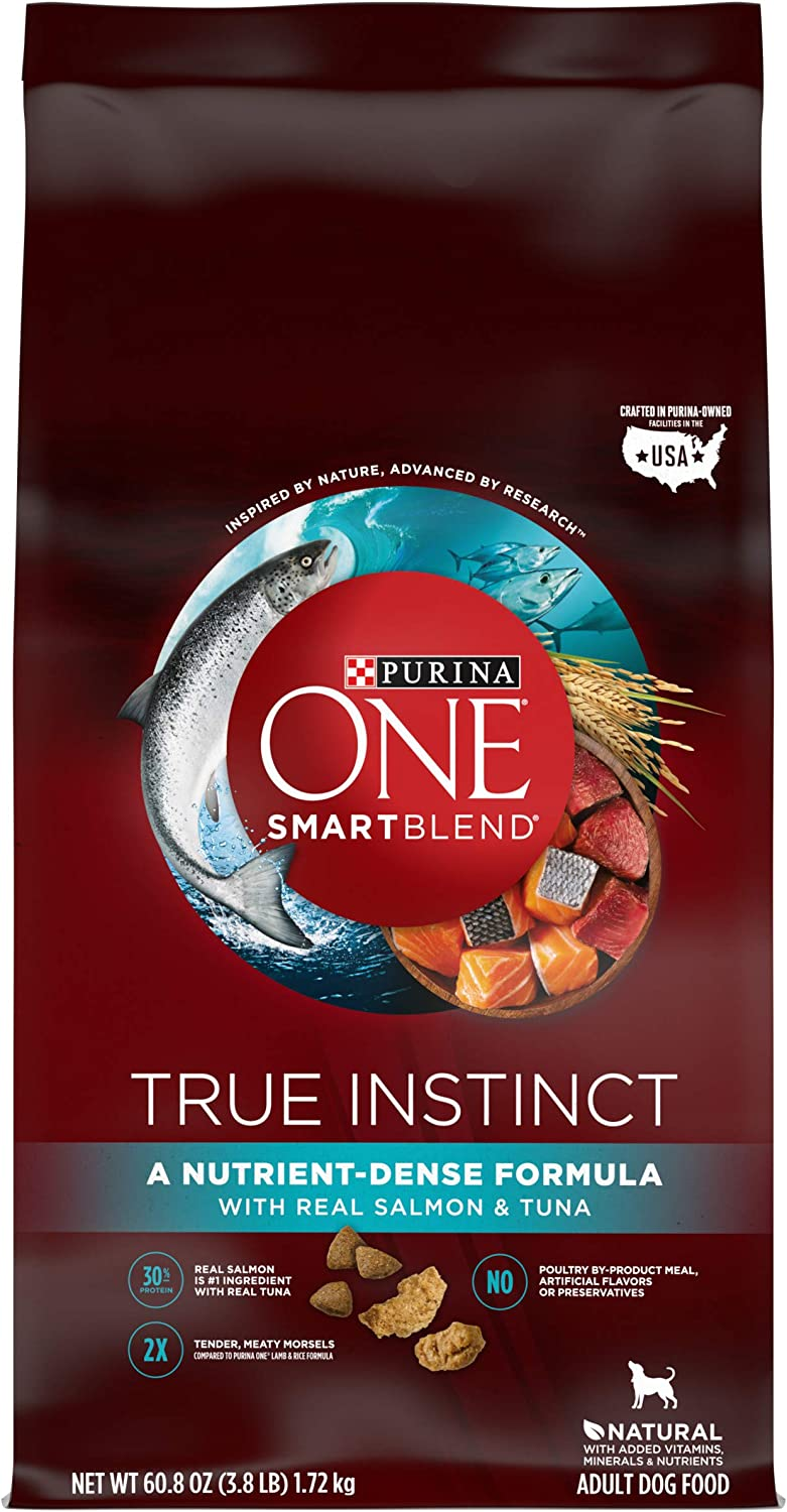 Purina ONE High Protein Natural Dry Dog Food, SmartBlend True Instinct With Real Salmon & Tuna - (Pack of 4) 3.8 lb. Bags