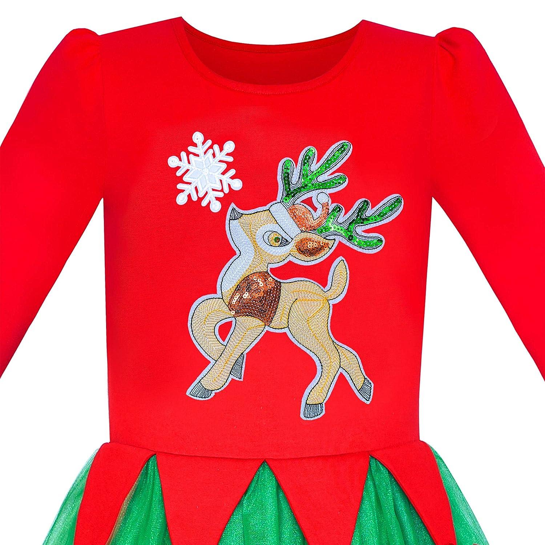 Sunboree M/ädchen Kleid Weihnachten Weihnachtsm/ütze Lange /Ärmel Party Kleid Gr 110-146