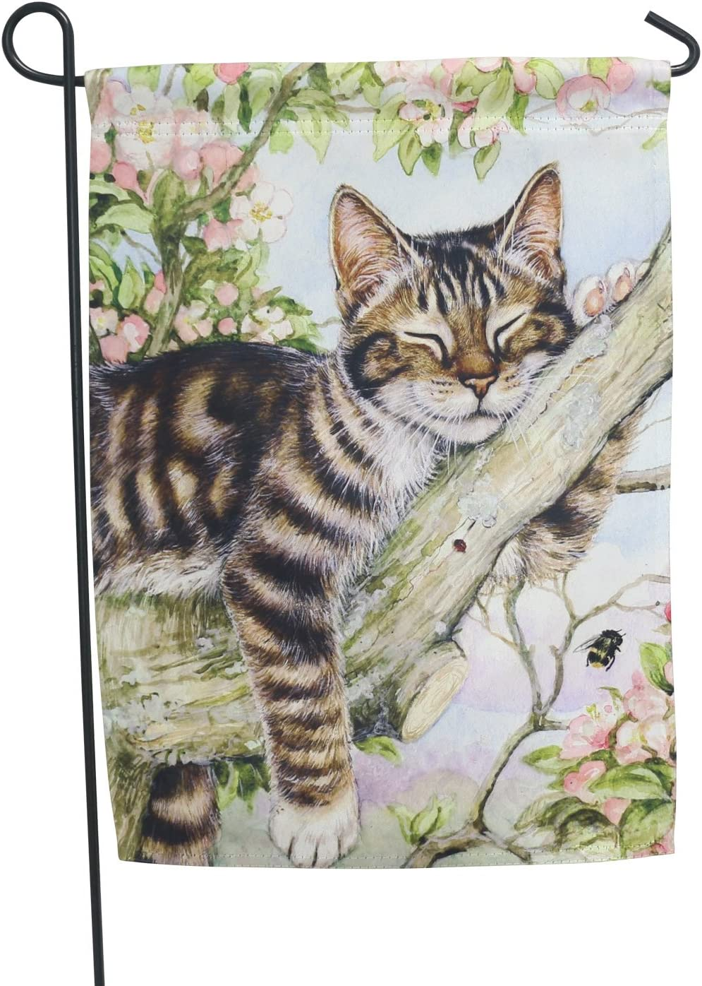 LAYOER Home Garden Flag 13 x 18 Inch House Double Sided Striped Cat & Flowers 12 x 18 Inch