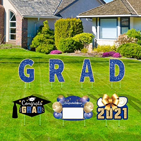 Graduation Yard Sign 2021 with Stakes, Graduation Signs for Yard Decorations, Graduation Lawn Sign Personalized Outdoor Grad Party Supplies, Set of 7