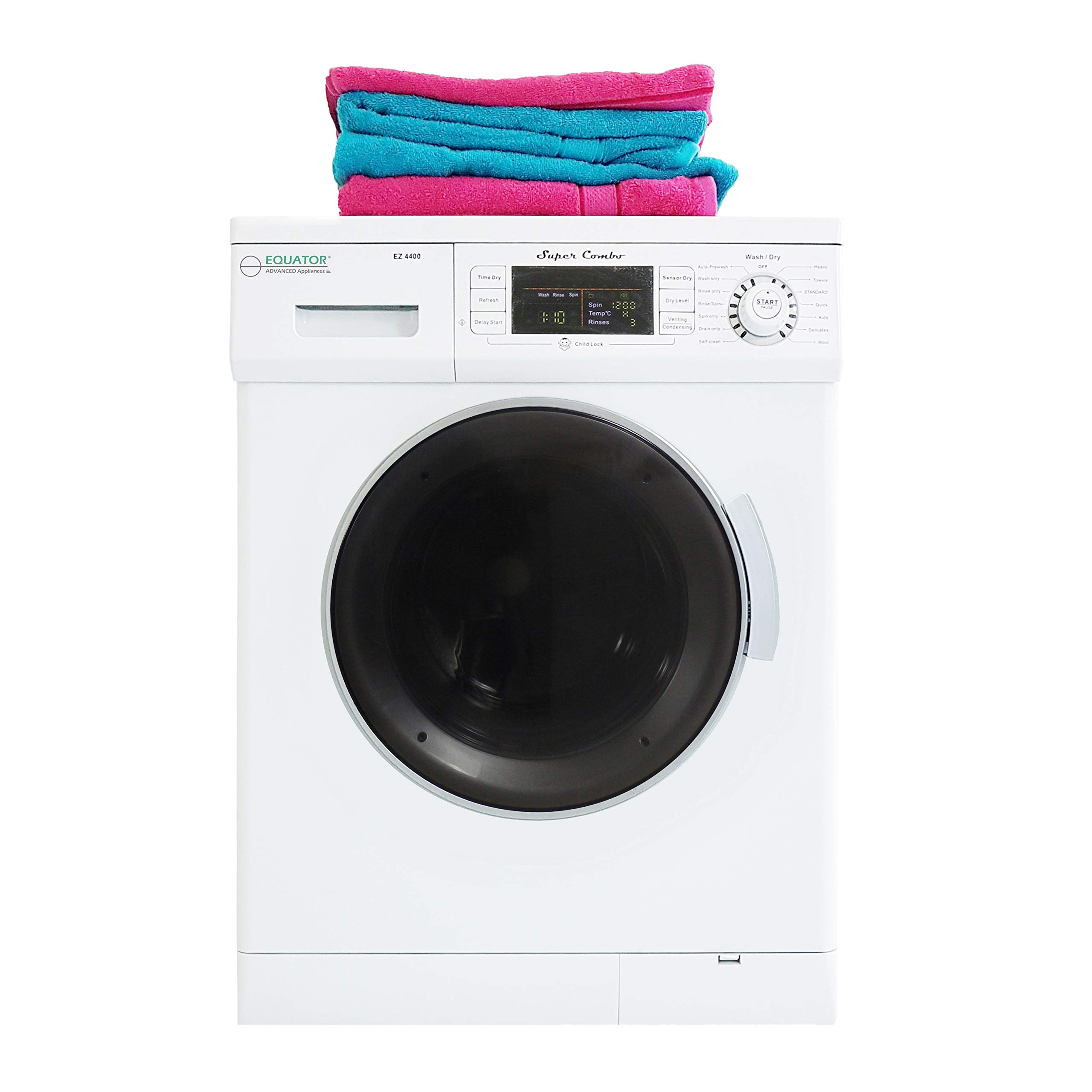 Equator All-in-one Compact Combo Washer Dryer 1200 RPM spin, Auto water level, Sensor Dry Optional Venting/Condensing in White