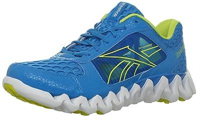 best service 143bd 7ae17 Reebok Men s Zigtech Shark Pursuit360 Running Shoe,Far Out Blue White Solar  Green