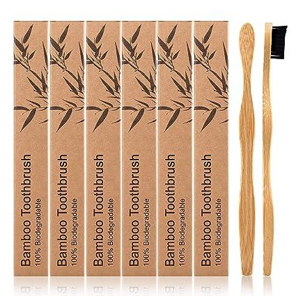 Bambu Cepillo de dientes de 6 piezas, cepillo de dientes de bambú, cerdas extra