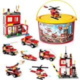 Building Blocks Fire Station City Coastline Emergency Rescue Team, Exercise N Play Creative DIY Consturction Toys for Boys Girls 6 7 8 9 10 11 12 YearsToy Bucket