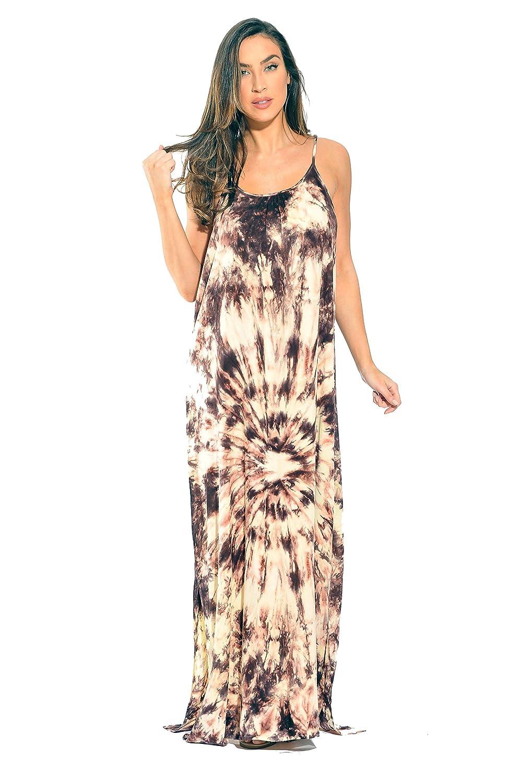 Beige   Chocolate Riviera Sun Tie Dye Spaghetti Strap Maxi Dress