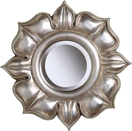 Sterling Lotus Mirror, Bright Silver Leaf