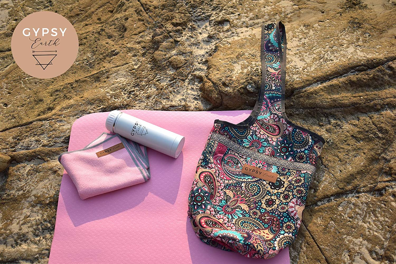Gypsy Earth Yoga Carry Bag with Yoga mat with Free Sustainable Water Bottle and Micro Fiber Towel Multi-Functional Usage Yoga Gift Set Yoga Tote Bag Fit Most Size Mats Yoga Starter Kit