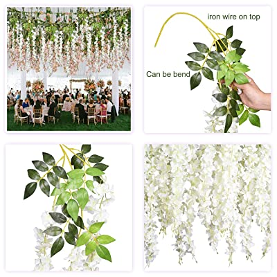 6 Pack 3.75 Ft Artificial Wisteria Hanging Garland Silk Flowers Home Party Decor