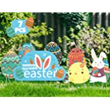 7 Pieces Easter Yard Stake Signs Decorations Bunny, Chick and Eggs for Easter OutdoorHunt Game, Party Supplies,DÈcor, Easter Lawn Props.
