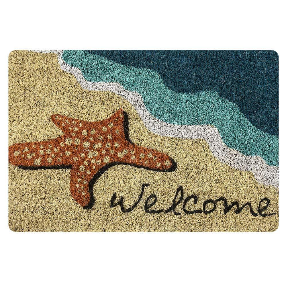 HUGS IDEA Sand Beach Doormat Low Profile Welcome Starfish Mat Indoor Rug for Kitchen Living Room Bedroom