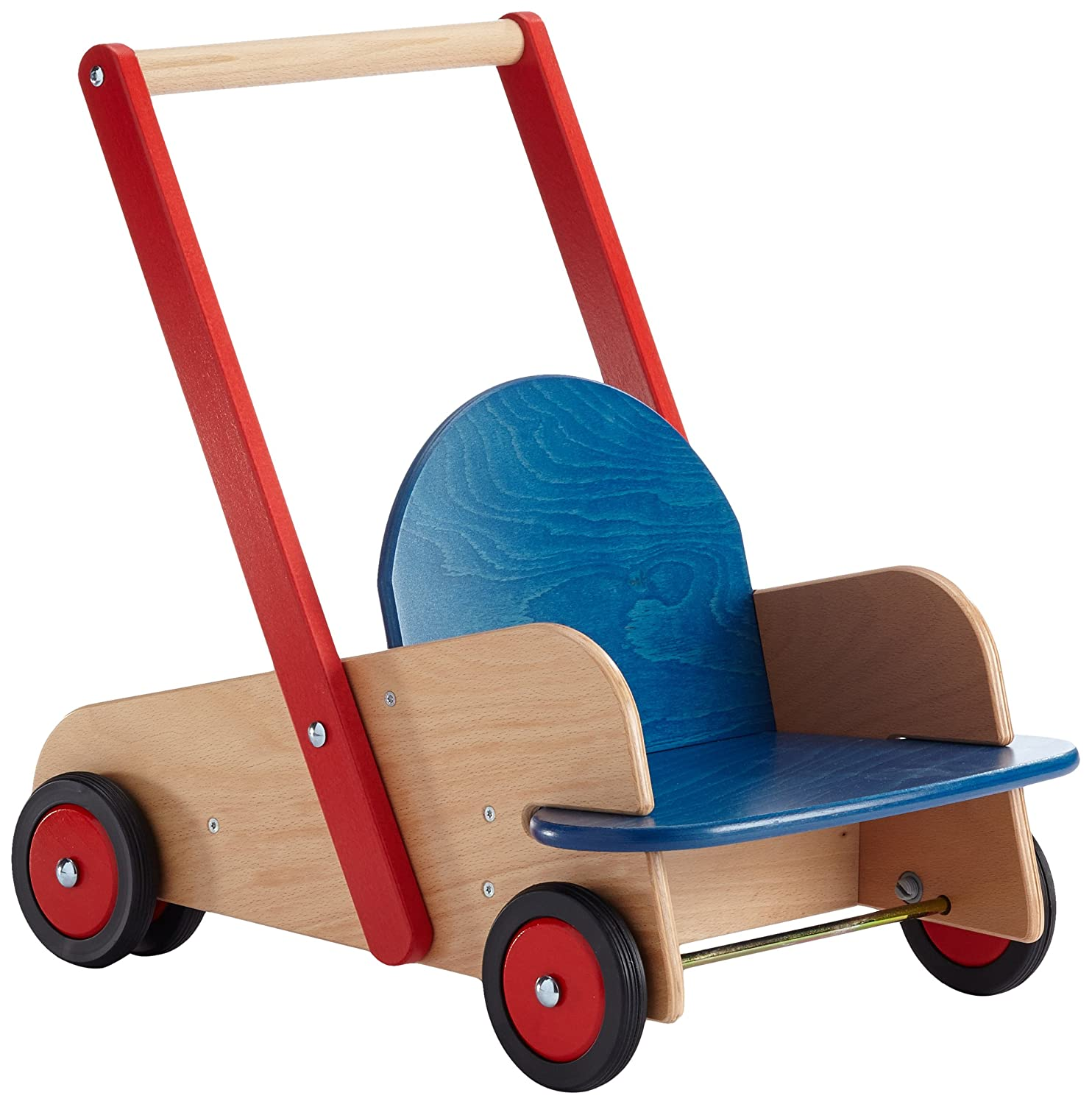 Sturdy Walker Wagon, includes seat and storage area, rubber tires on wood rims