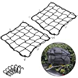 """2 Pack of 15.7""""x15.7"""" Bungee Cargo Net Stretches to 30""""x30"""" Elastic Motorcycle Luggage Bungee Netting with 12 Metal…"""