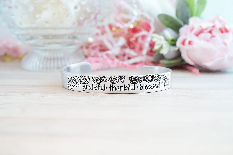 Grateful Thankful Blessed Hand Stamped Cuff Bracelet