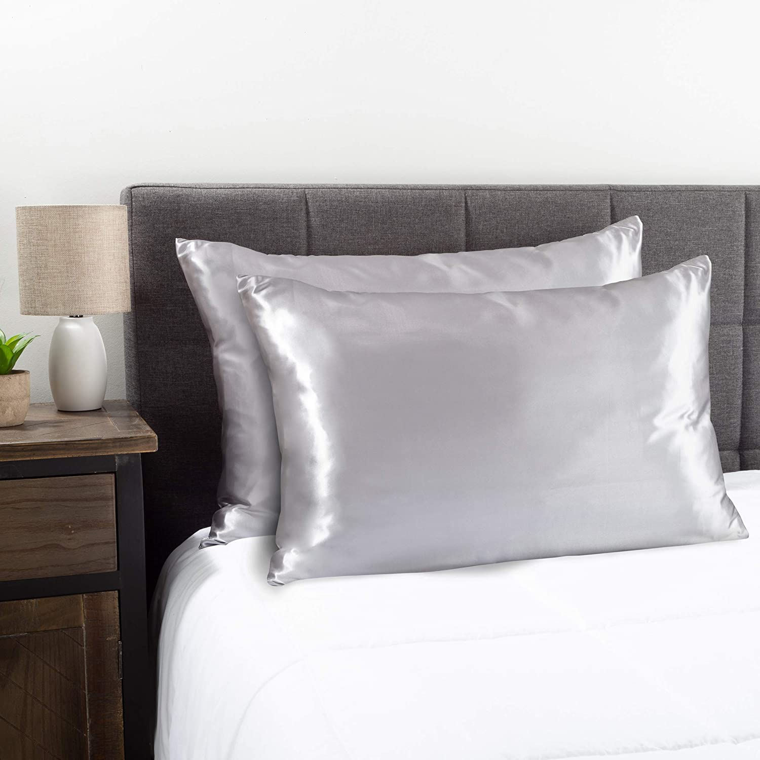 Lavish Home Collection Satin Microfiber Pillowcases for Hair & Skin- Set of 2 King Size Pillow Covers, Hidden Zipper- Helps Prevent Frizz & Wrinkles by LHC (Silver Gray)