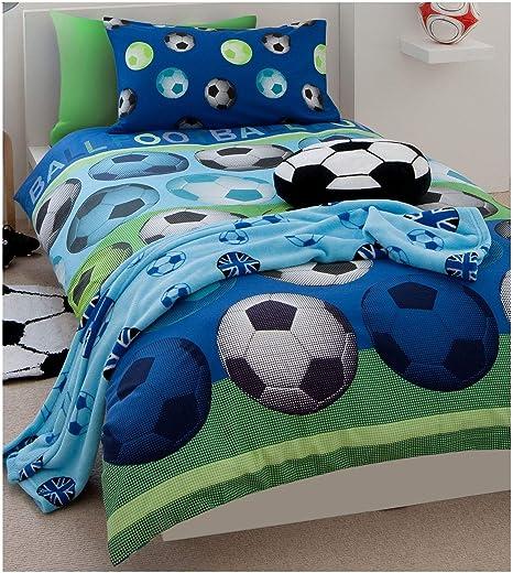 Individual Reversible Fútbol Azul Edredón de algodón Juego Funda Juego Cubre Cama: Amazon.es: Hogar