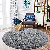ISEAU Fluffy Round Rug Carpets, Modern Shaggy Circle Rug for Kids Bedroom Extra Comfy Cute Nursery Rug Small Circular Carpet