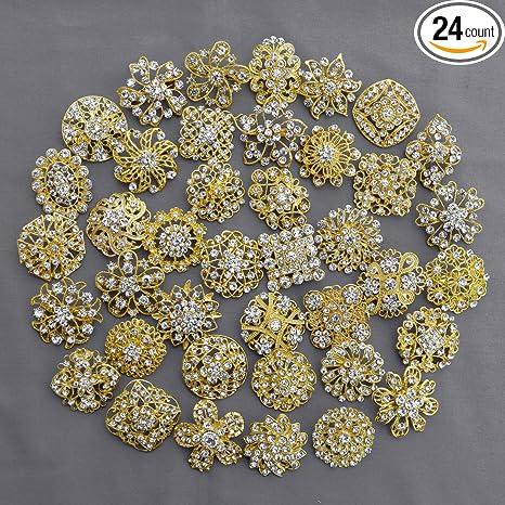 Amazon Com 40 Pcs Gold Rhinestone Brooch Crystal Brooches Wedding