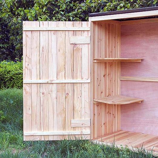 Caseta de jardín Madera Doble puerta Caseta para herramientas y aperos Cobertizo Armario de jardín: Amazon.es: Jardín
