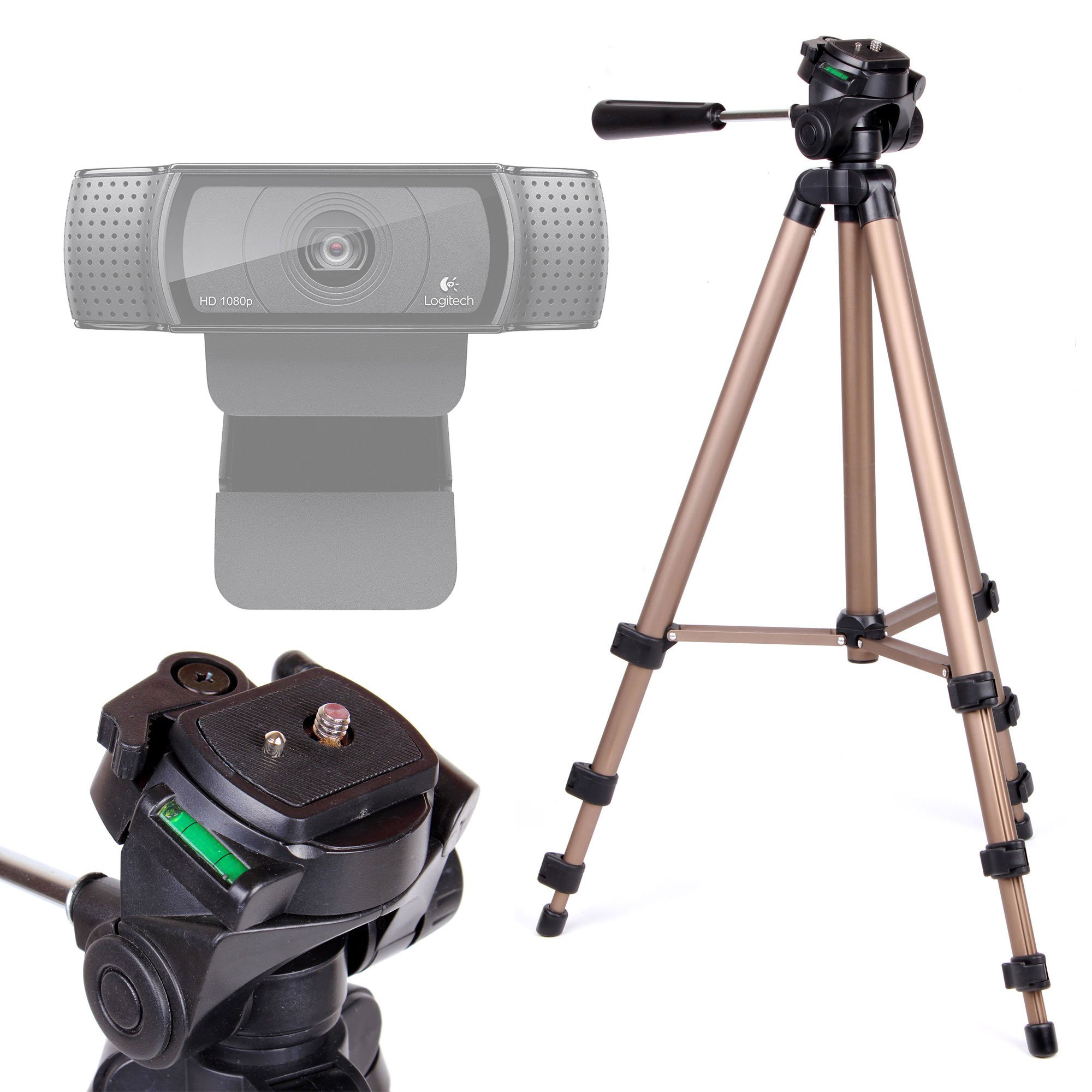 DURAGADGET Webcam Camera Tripod with Extendable Legs and Ball-Tilt Head in Black & Gold for the Logitech HD Pro C920, C922 Pro Stream Webcam Full HD 1080p & C170