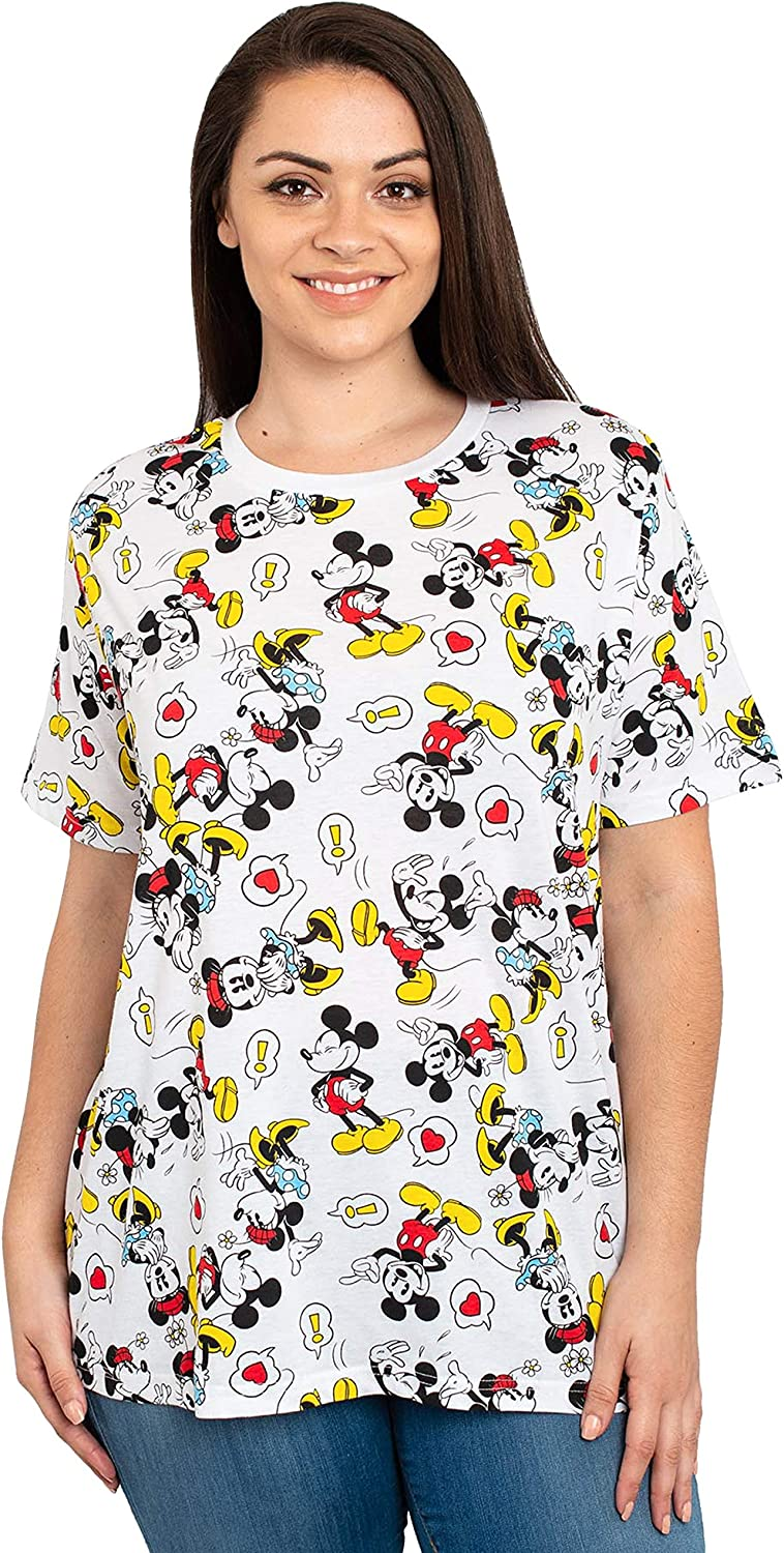 Disney Womens Plus Size T-Shirt Mickey & Minnie Mouse All Over Print White: Clothing