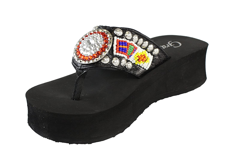 Grazie Women's Totempole Platform Sandal B00KN51P10 7.5 B(M) US|Red/Black