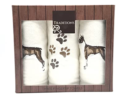 Traditions Holiday Christmas Cotton Tip Towels Decorative Embroidered Dog Design 3 Piece Gift Pack